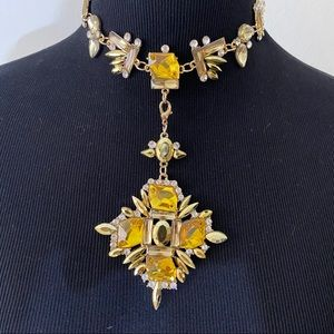 Sexy Gold Crystal Choker Gothic Cross Necklace